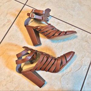 TORRID brown strappy block heel bootie 9 Wide